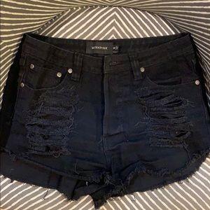 Minkpink Slasher Flick Black Cutoff Jean Shorts